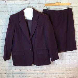 Worthington 2-piece purple wool skirt/blazer
